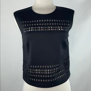 Clover Canyon Black Neoprene Cut-Out Top